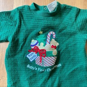 Vintage waffle sleeper baby's first Christmas 3-6m